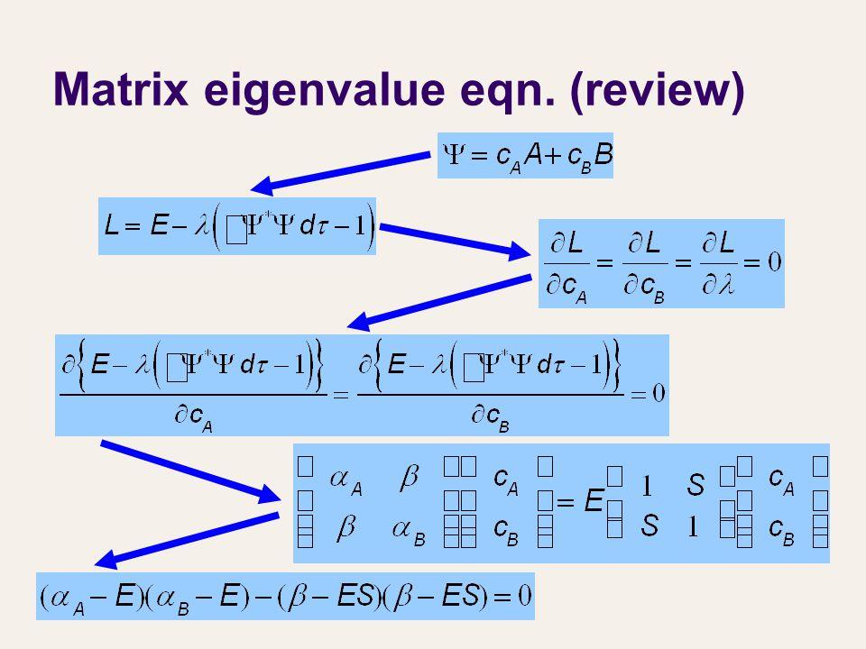 Matrix eigenvalue eqn. (review)