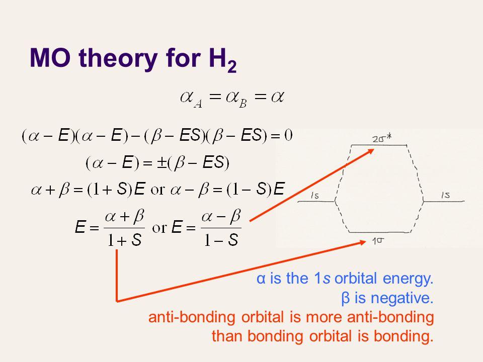 MO theory for H 2 α is the 1s orbital energy. β is negative. anti-bonding orbital is more anti-bonding than bonding orbital is bonding.