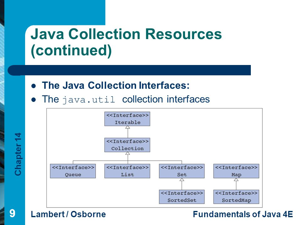 Chapter 14 Lambert / OsborneFundamentals of Java 4E 99 Java Collection Resources (continued) The Java Collection Interfaces: The java.util collection interfaces 9