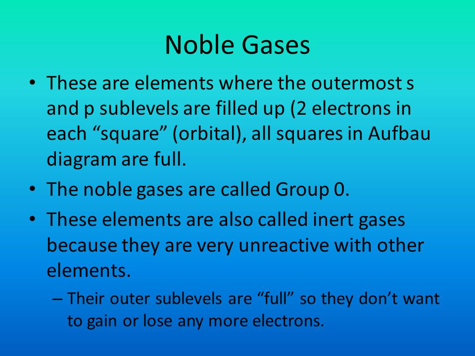 Noble Gases These are elements where the outermost s and p sublevels are filled up (2 electrons in each square (orbital), all squares in Aufbau diagram are full.