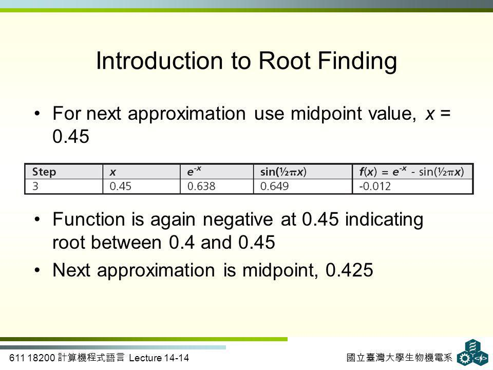 611 18200 計算機程式語言 Lecture 14-14 國立臺灣大學生物機電系 Introduction to Root Finding For next approximation use midpoint value, x = 0.45 Function is again negative at 0.45 indicating root between 0.4 and 0.45 Next approximation is midpoint, 0.425