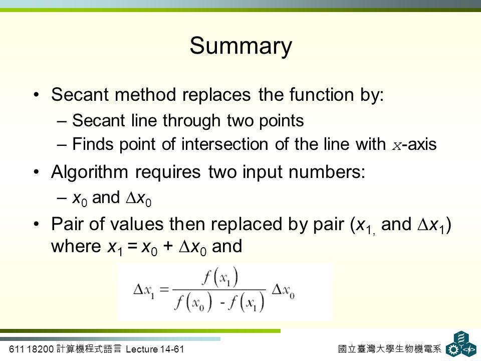 611 18200 計算機程式語言 Lecture 14-61 國立臺灣大學生物機電系 Summary Secant method replaces the function by: –Secant line through two points –Finds point of intersection of the line with x -axis Algorithm requires two input numbers: –x 0 and ∆x 0 Pair of values then replaced by pair (x 1, and ∆x 1 ) where x 1 = x 0 + ∆x 0 and