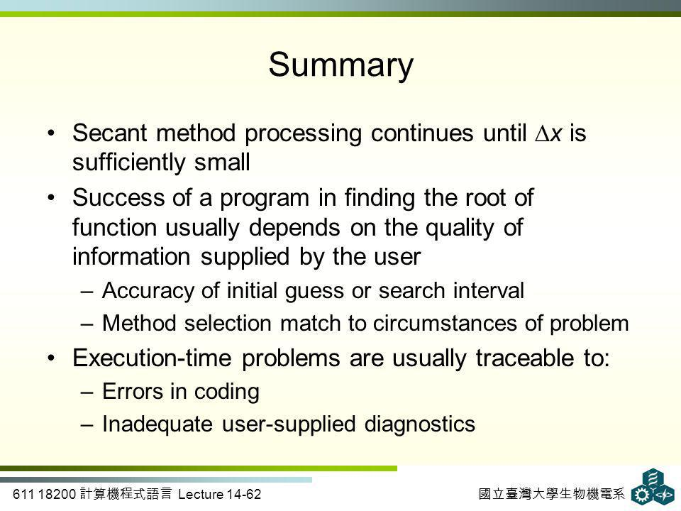 611 18200 計算機程式語言 Lecture 14-62 國立臺灣大學生物機電系 Summary Secant method processing continues until ∆x is sufficiently small Success of a program in finding the root of function usually depends on the quality of information supplied by the user –Accuracy of initial guess or search interval –Method selection match to circumstances of problem Execution-time problems are usually traceable to: –Errors in coding –Inadequate user-supplied diagnostics