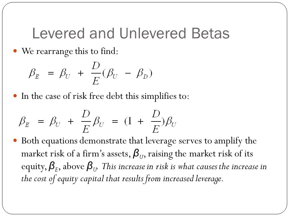 Levered and Unlevered Betas We rearrange this to find: In the case of risk free debt this simplifies to: Both equations demonstrate that leverage serv