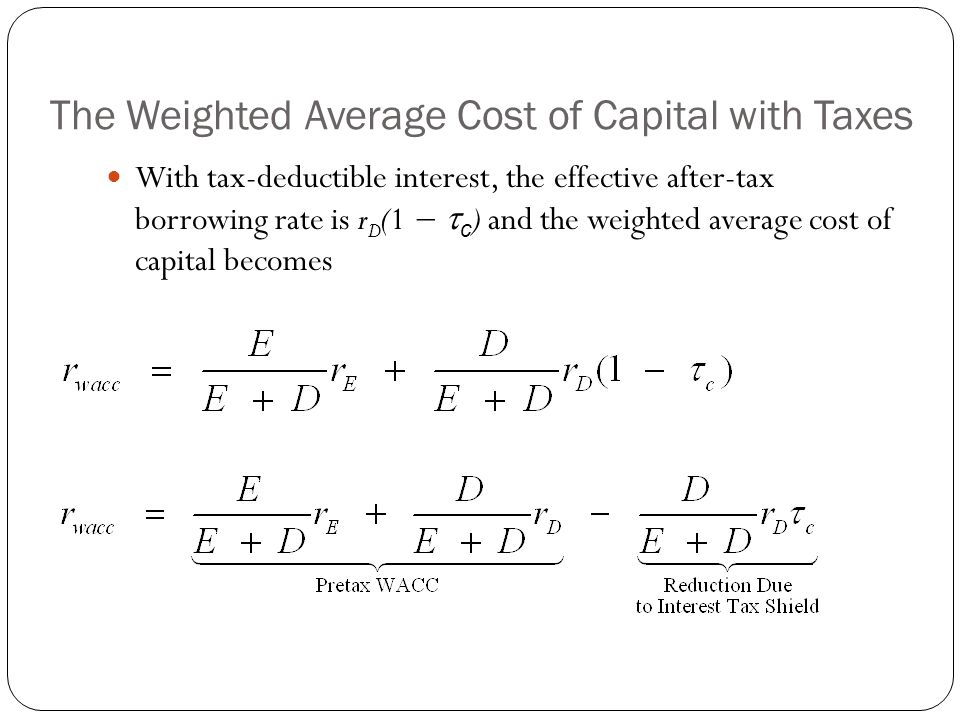 The Weighted Average Cost of Capital with Taxes With tax-deductible interest, the effective after-tax borrowing rate is r D (1 −  c ) and the weighte