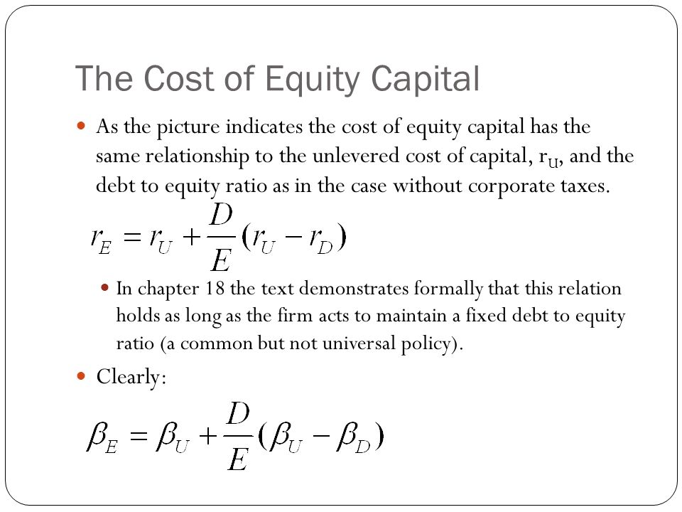 The Cost of Equity Capital As the picture indicates the cost of equity capital has the same relationship to the unlevered cost of capital, r U, and th