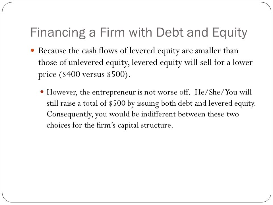 Financing a Firm with Debt and Equity Because the cash flows of levered equity are smaller than those of unlevered equity, levered equity will sell fo