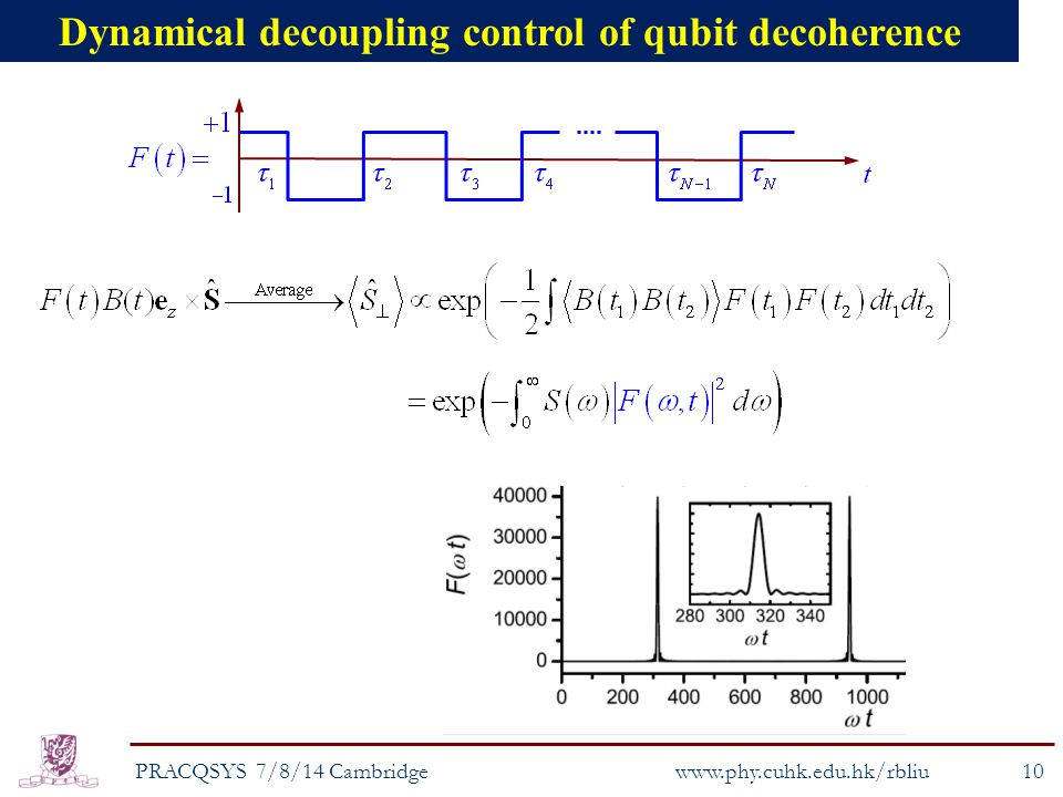 Dynamical decoupling control of qubit decoherence PRACQSYS 7/8/14 Cambridge10 www.phy.cuhk.edu.hk/rbliu