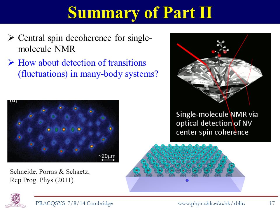  Central spin decoherence for single- molecule NMR  How about detection of transitions (fluctuations) in many-body systems.