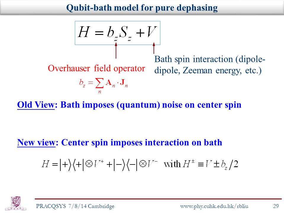 Qubit-bath model for pure dephasing Overhauser field operator Bath spin interaction (dipole- dipole, Zeeman energy, etc.) New view: Center spin imposes interaction on bath PRACQSYS 7/8/14 Cambridge29 www.phy.cuhk.edu.hk/rbliu Old View: Bath imposes (quantum) noise on center spin