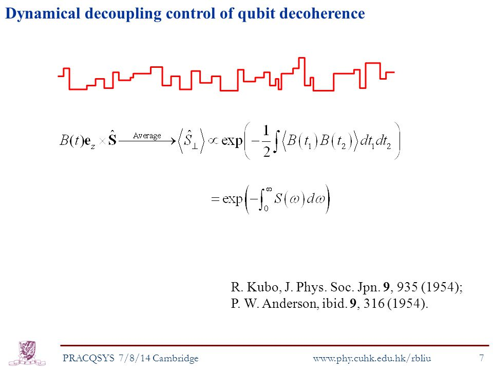 Dynamical decoupling control of qubit decoherence PRACQSYS 7/8/14 Cambridge7 www.phy.cuhk.edu.hk/rbliu R.