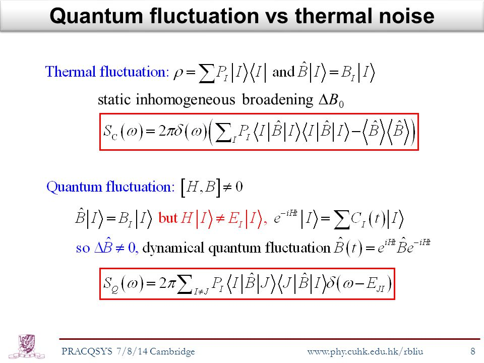 Quantum fluctuation vs thermal noise PRACQSYS 7/8/14 Cambridge8 www.phy.cuhk.edu.hk/rbliu static inhomogeneous broadening  B 0