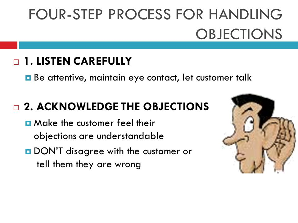 FOUR-STEP PROCESS FOR HANDLING OBJECTIONS  1.