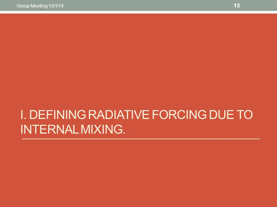 I. DEFINING RADIATIVE FORCING DUE TO INTERNAL MIXING. 15 Group Meeting 10/1/14