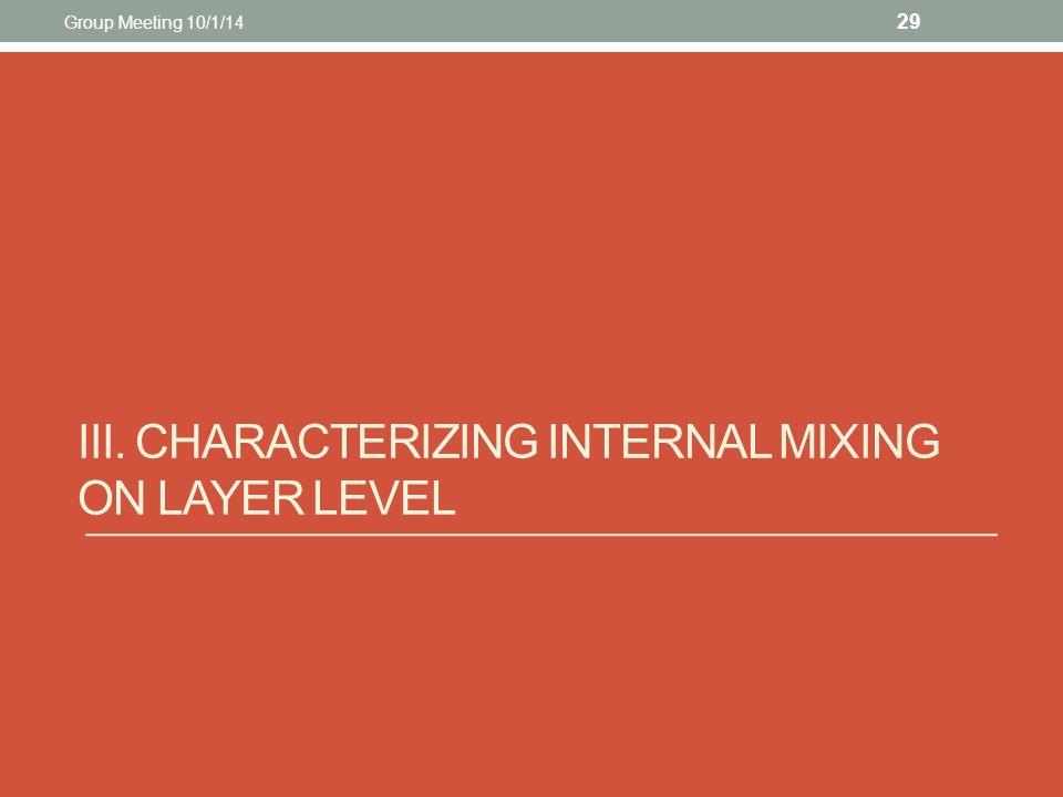 III. CHARACTERIZING INTERNAL MIXING ON LAYER LEVEL 29 Group Meeting 10/1/14