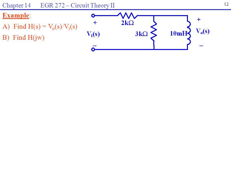 Example: A) Find H(s) = V o (s)/V i (s) B) Find H(jw) 12 Chapter 14 EGR 272 – Circuit Theory II