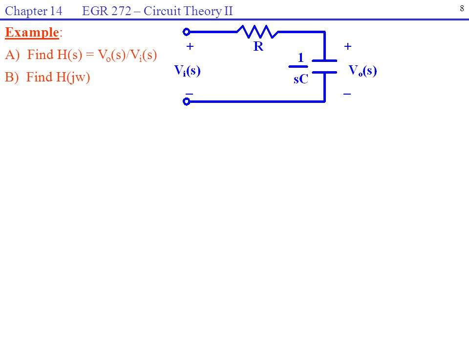 Example: (continued) C) Sketch the magnitude response, |H(jw)| versus w D) Sketch the phase response,  (w) versus w E) The circuit represents what type of filter.