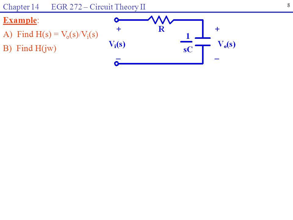 Example: A) Find H(s) = V o (s)/V i (s) B) Find H(jw) 8 Chapter 14 EGR 272 – Circuit Theory II