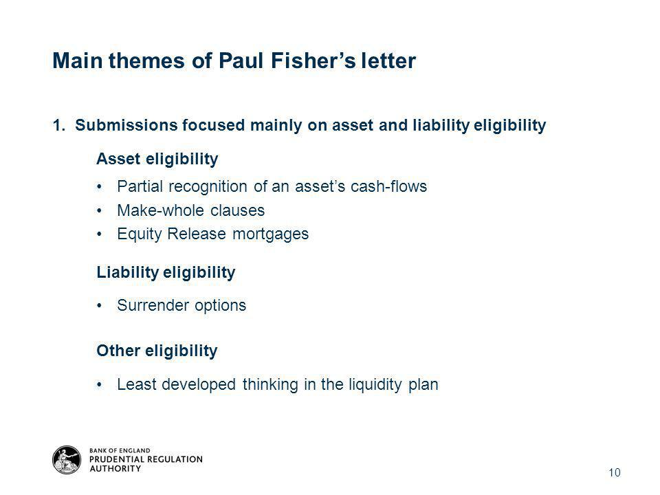 1. Submissions focused mainly on asset and liability eligibility Asset eligibility Partial recognition of an asset's cash-flows Make-whole clauses Equ