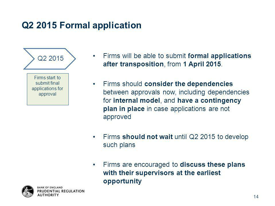 Q2 2015 Formal application Firms will be able to submit formal applications after transposition, from 1 April 2015.