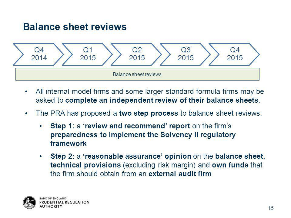 Balance sheet reviews All internal model firms and some larger standard formula firms may be asked to complete an independent review of their balance sheets.