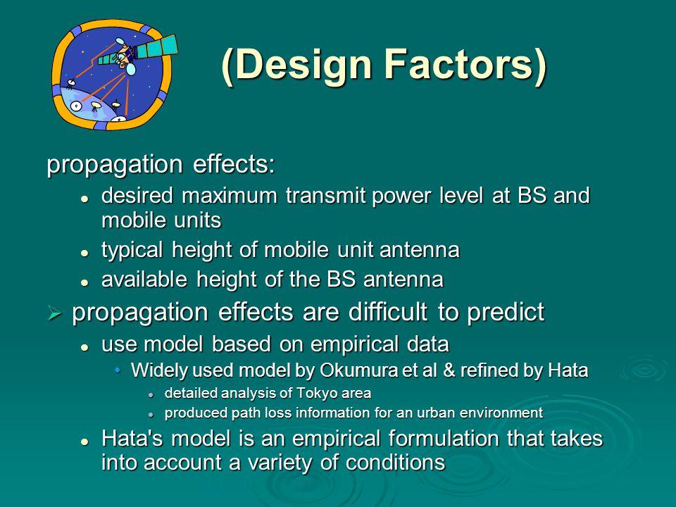 (Design Factors) (Design Factors) propagation effects: desired maximum transmit power level at BS and mobile units desired maximum transmit power leve