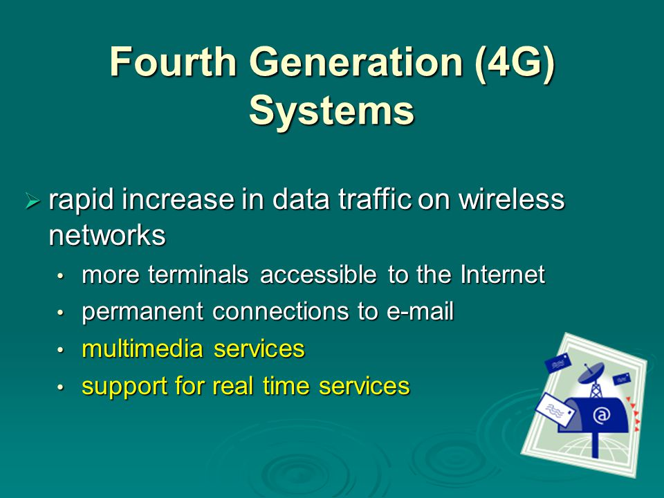 Fourth Generation (4G) Systems  rapid increase in data traffic on wireless networks more terminals accessible to the Internet more terminals accessib
