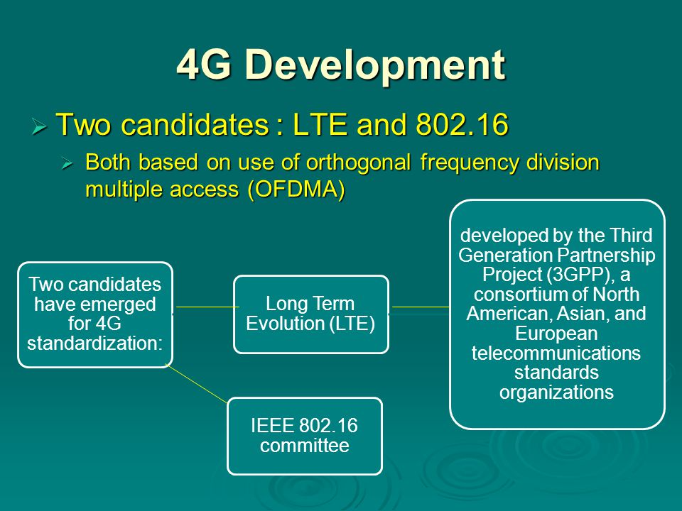 4G Development  Two candidates : LTE and 802.16  Both based on use of orthogonal frequency division multiple access (OFDMA) Two candidates have emer