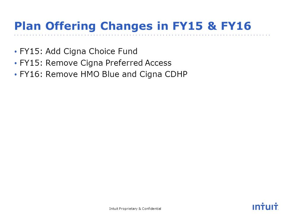 Intuit Proprietary & Confidential Plan Offering Changes in FY15 & FY16 FY15: Add Cigna Choice Fund FY15: Remove Cigna Preferred Access FY16: Remove HMO Blue and Cigna CDHP