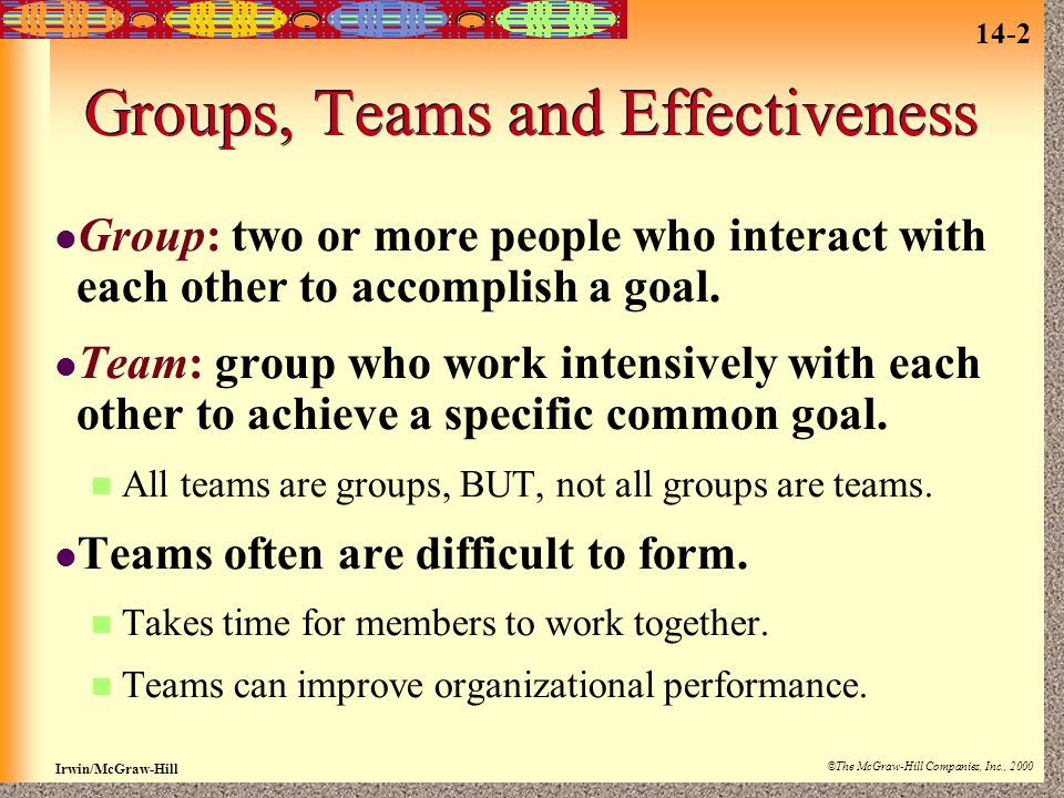 14-2 Irwin/McGraw-Hill ©The McGraw-Hill Companies, Inc., 2000 Groups, Teams and Effectiveness Group: two or more people who interact with each other to accomplish a goal.