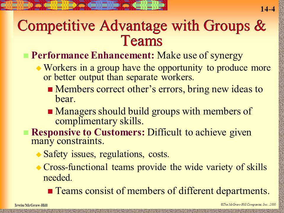14-4 Irwin/McGraw-Hill ©The McGraw-Hill Companies, Inc., 2000 Competitive Advantage with Groups & Teams Performance Enhancement: Make use of synergy  Workers in a group have the opportunity to produce more or better output than separate workers.