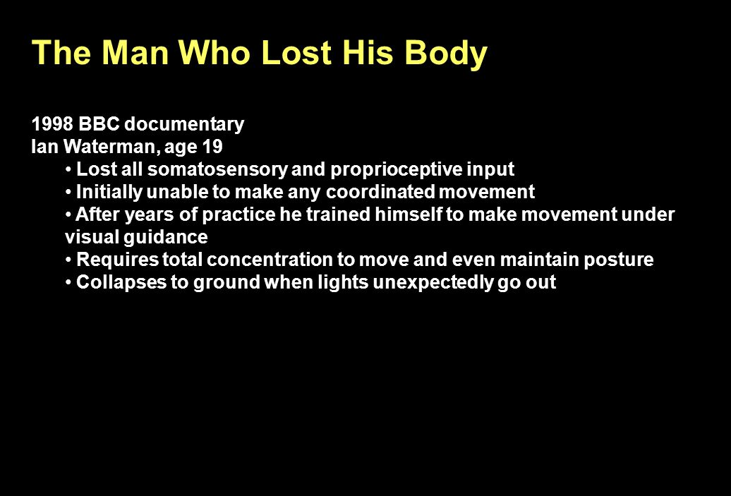 The Man Who Lost His Body 1998 BBC documentary Ian Waterman, age 19 Lost all somatosensory and proprioceptive input Initially unable to make any coord