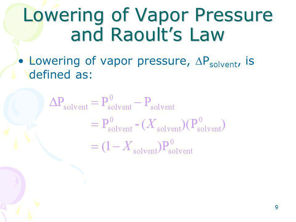 9 Lowering of Vapor Pressure and Raoult's Law Lowering of vapor pressure, P solvent, is defined as: