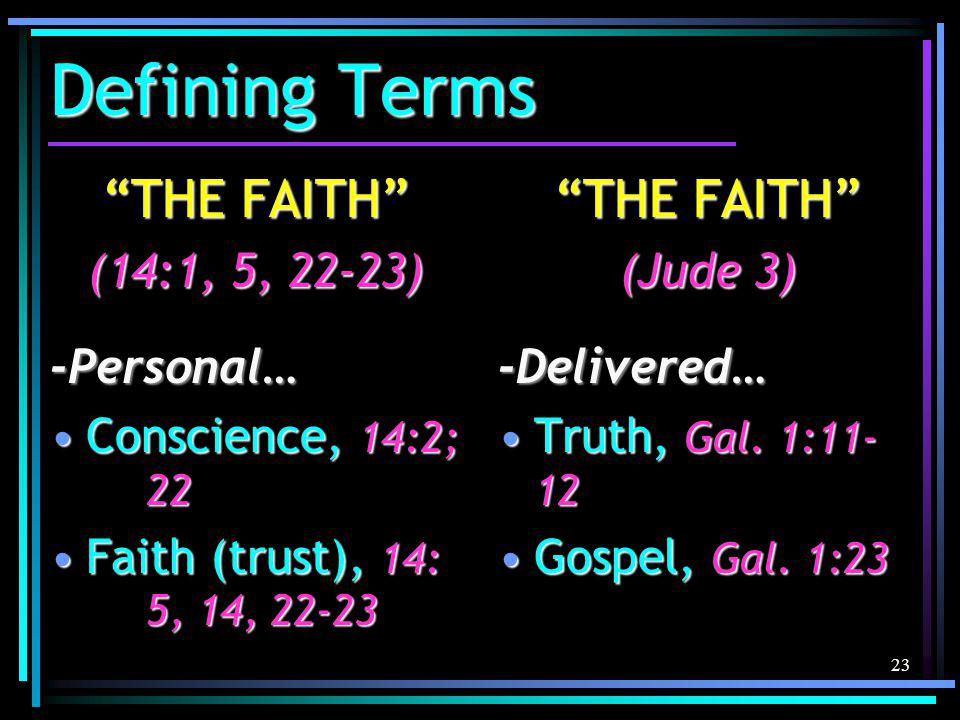 23 Defining Terms THE FAITH (14:1, 5, 22-23) -Personal… Conscience, 14:2; 22Conscience, 14:2; 22 Faith (trust), 14: 5, 14, 22-23Faith (trust), 14: 5, 14, 22-23 THE FAITH (Jude 3) -Delivered… Truth, Gal.