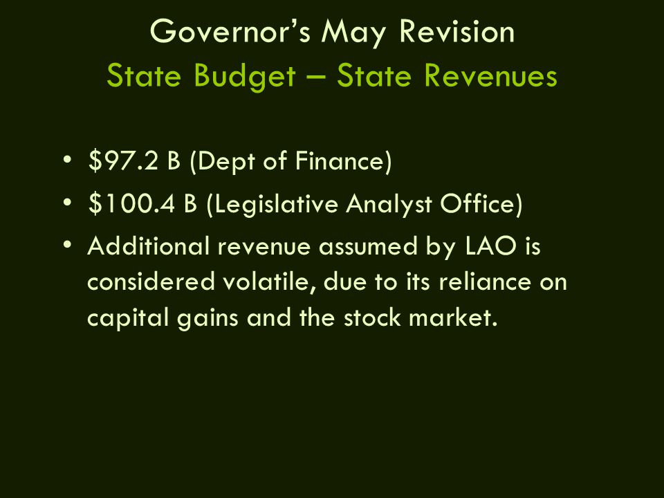 Governor's May Revision State Budget – State Revenues $97.2 B (Dept of Finance) $100.4 B (Legislative Analyst Office) Additional revenue assumed by LAO is considered volatile, due to its reliance on capital gains and the stock market.