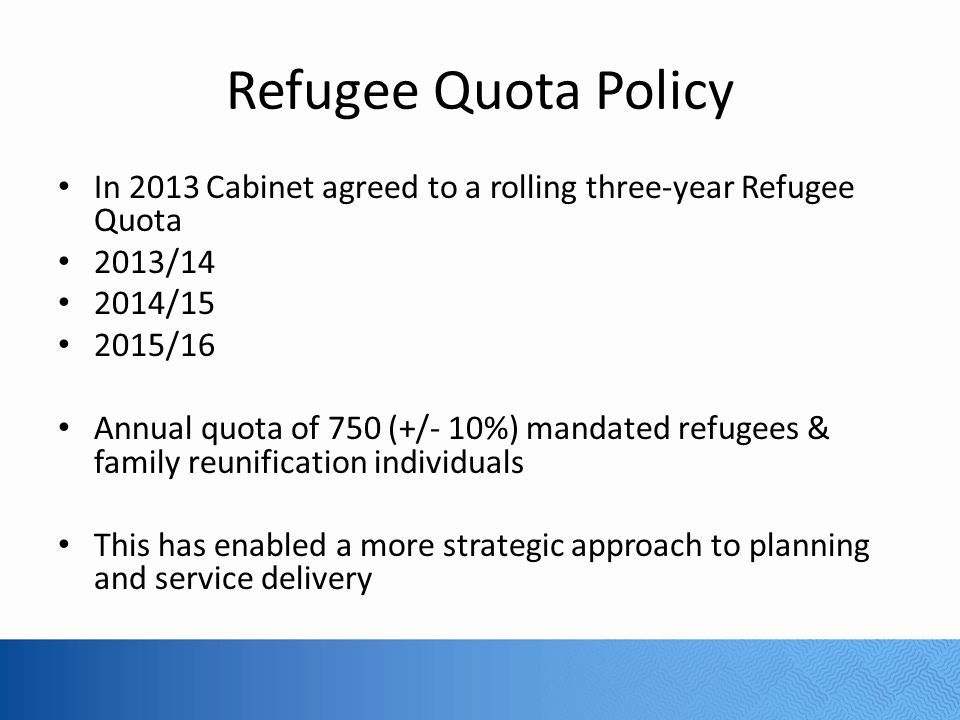 Refugee Quota 2013-2014 Statistics 750 refugees resettled Asia/Pacific Region: 62% Middle East: 16% Americas: 19% Africa: 3%
