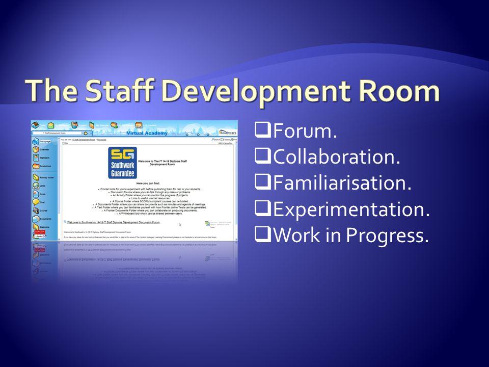  Forum.  Collaboration.  Familiarisation.  Experimentation.  Work in Progress.