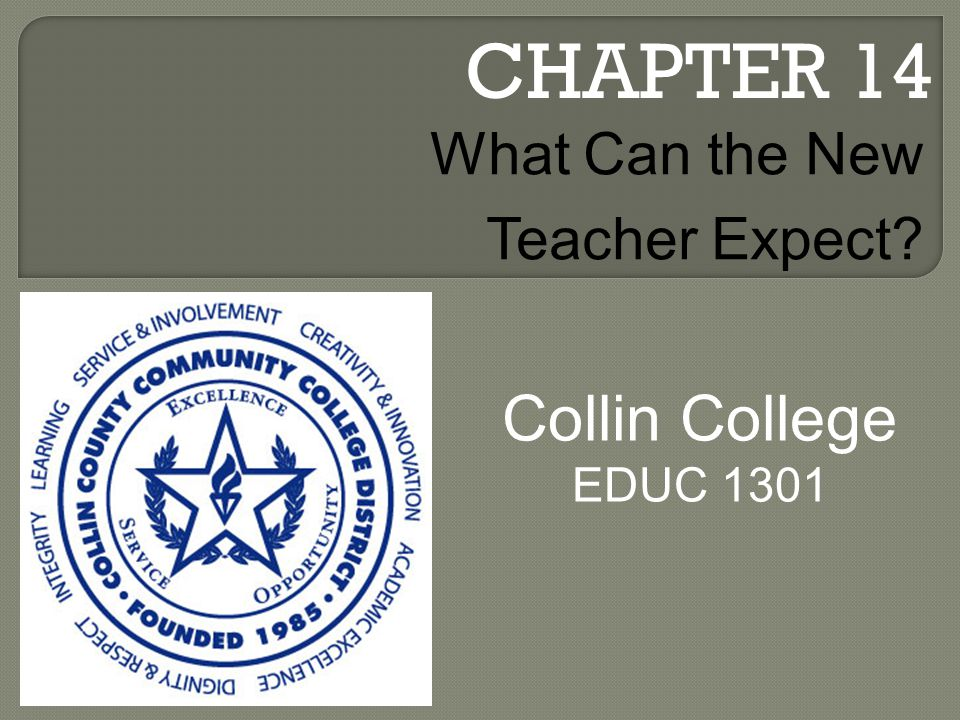 CHAPTER 14 Collin College EDUC 1301 What Can the New Teacher Expect