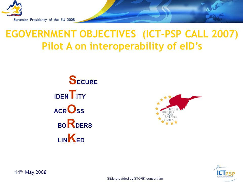 18 14 th May 2008 S ECURE IDEN T ITY ACR O SS BO R DERS LIN K ED EGOVERNMENT OBJECTIVES (ICT-PSP CALL 2007) Pilot A on interoperability of eID's Slide provided by STORK consortium