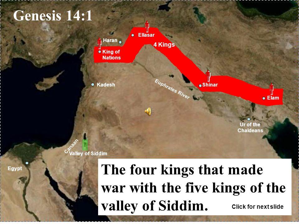 Gomorrah Admah Zeboiim Zoar Sodom Amorites Mamre in Hebron Valley of Siddim Bethel Hai   Salem (Jerusalem)             Genesis 14:17-24 Melchizedek king of Salem and priest of God blessed Abraham.