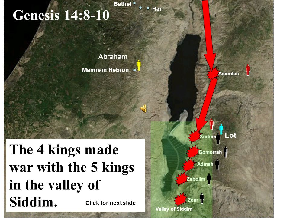 Euphrates River Canaan Haran Egypt Ur of the Chaldeans Shinar Ellasar Elam Karnaim Ham Kiriathaim El-Paran Kadesh Amorites King of Nations Valley of Siddim Horites 4 Kings               Genesis 14:5-7 The 4 kings destroyed 7 cities before they had war with the 5 kings in the valley of Siddim.