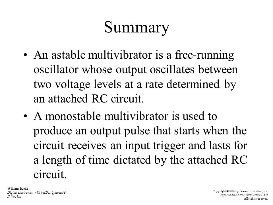 Summary An astable multivibrator is a free-running oscillator whose output oscillates between two voltage levels at a rate determined by an attached R