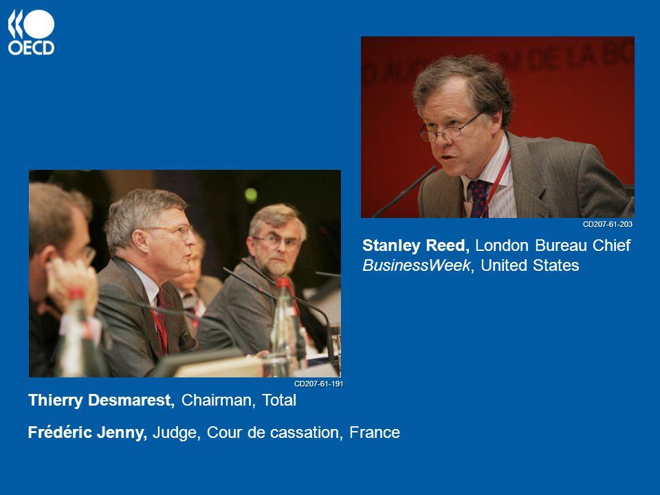 Thierry Desmarest, Chairman, Total Frédéric Jenny, Judge, Cour de cassation, France Stanley Reed, London Bureau Chief BusinessWeek, United States CD207-61-191 CD207-61-203