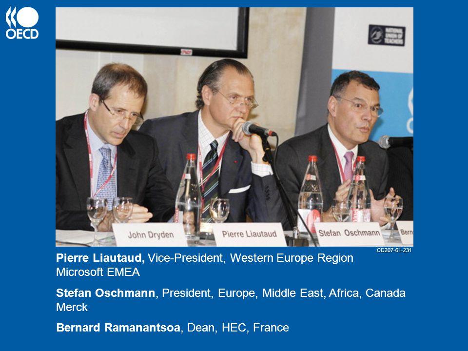 Stefan Oschmann, President, Europe, Middle East, Africa, Canada Merck Pierre Liautaud, Vice-President, Western Europe Region Microsoft EMEA Bernard Ramanantsoa, Dean, HEC, France CD207-61-231