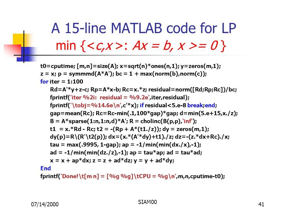 07/14/2000 SIAM00 41 A 15-line MATLAB code for LP min { : Ax = b, x >= 0 } t0=cputime; [m,n]=size(A); x=sqrt(n)*ones(n,1); y=zeros(m,1); z = x; p = symmmd(A*A ); bc = 1 + max(norm(b),norm(c)); for iter = 1:100 Rd=A *y+z-c; Rp=A*x-b; Rc=x.*z; residual=norm([Rd;Rp;Rc])/bc; fprintf( iter %2i: residual = %9.2e ,iter,residual); fprintf( \tobj=%14.6e\n ,c *x); if residual<5.e-8 break;end; gap=mean(Rc); Rc=Rc-min(.1,100*gap)*gap; d=min(5.e+15,x./z); B = A*sparse(1:n,1:n,d)*A ; R = cholinc(B(p,p), inf ); t1 = x.*Rd - Rc; t2 = -(Rp + A*(t1./z)); dy = zeros(m,1); dy(p)=R\(R \t2(p)); dx=(x.*(A *dy)+t1)./z; dz=-(z.*dx+Rc)./x; tau = max(.9995, 1-gap); ap = -1/min(min(dx./x),-1); ad = -1/min(min(dz./z),-1); ap = tau*ap; ad = tau*ad; x = x + ap*dx; z = z + ad*dz; y = y + ad*dy; End fprintf( Done!\t[m n] = [%g %g]\tCPU = %g\n ,m,n,cputime-t0);