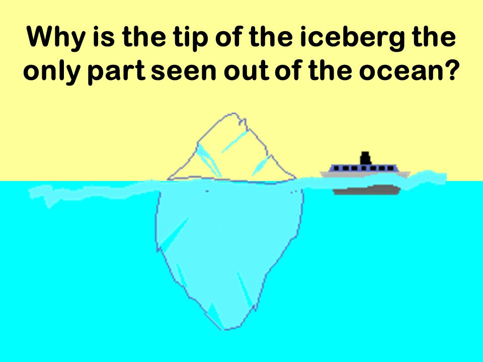 Why is the tip of the iceberg the only part seen out of the ocean?