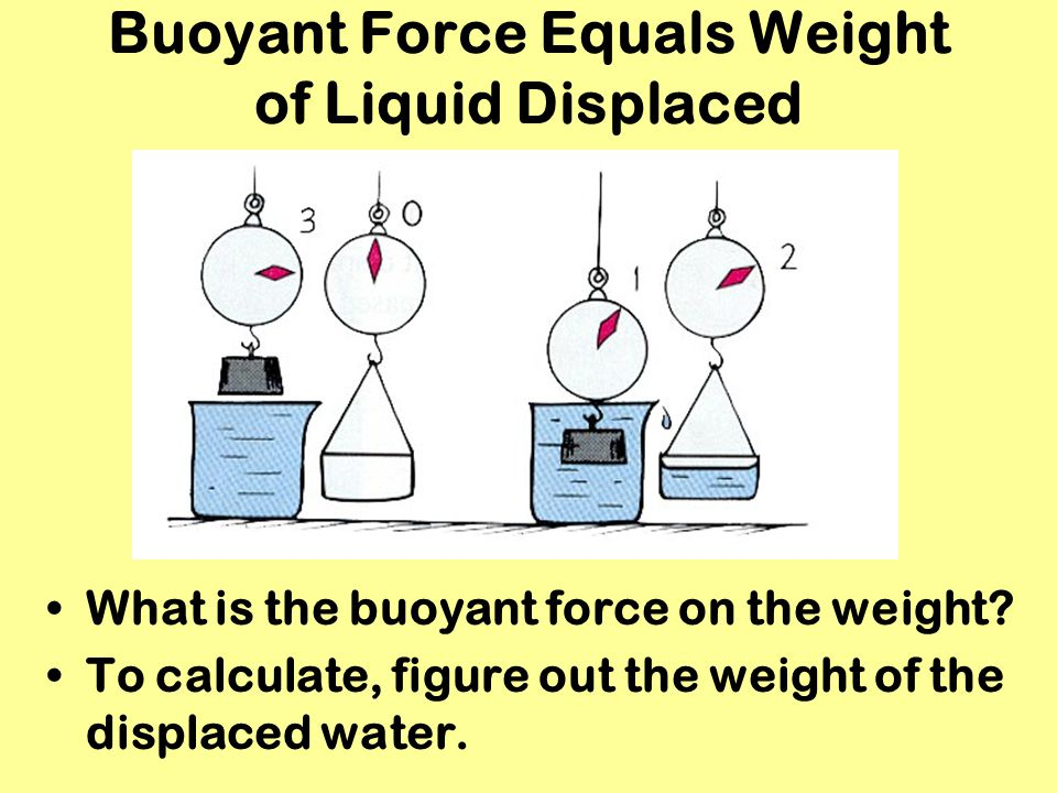 Buoyant Force Equals Weight of Liquid Displaced What is the buoyant force on the weight? To calculate, figure out the weight of the displaced water.