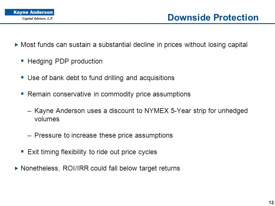 13 Downside Protection  Most funds can sustain a substantial decline in prices without losing capital  Hedging PDP production  Use of bank debt to