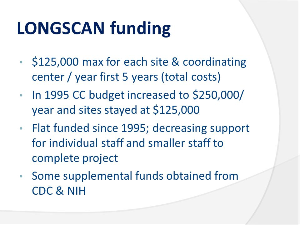 LONGSCAN funding $125,000 max for each site & coordinating center / year first 5 years (total costs) In 1995 CC budget increased to $250,000/ year and sites stayed at $125,000 Flat funded since 1995; decreasing support for individual staff and smaller staff to complete project Some supplemental funds obtained from CDC & NIH