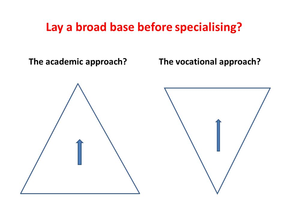 Lay a broad base before specialising? The academic approach? The vocational approach?